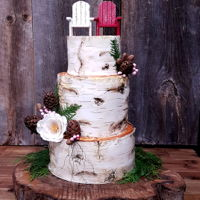 Rustic Birch Bark Wedding Cake Modeling chocolate and hand painted details. I made the pinecones from modeling chocolate as well along with the sugar flower and barries....