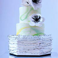 Simple And Pretty fondant frills, marble effect and gumpaste anemones