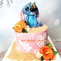 Stitch Birthday Cake Happy 11th Birthday Maggie!!!! Stitch Birthday Cake. Pastel Tye dye rainbow cake, chocolate chip cookie dough filling chocolate peanut...