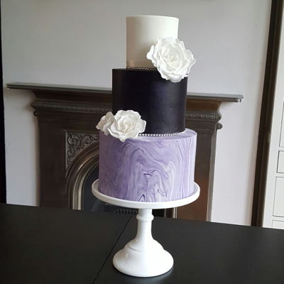 Marble And Purple Wedding Cake