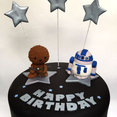 Star Wars Theme Birthday Cake ~ Chewbacca & R2-D2