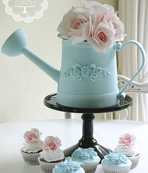 Watering Can Cake With Pink Roses