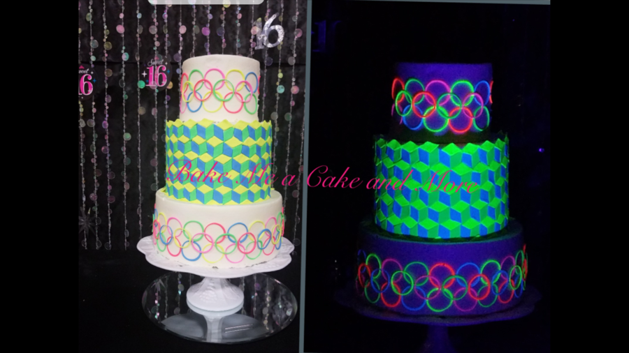 Black Light Sweet Sixteen Birthday Cake on Cake Central