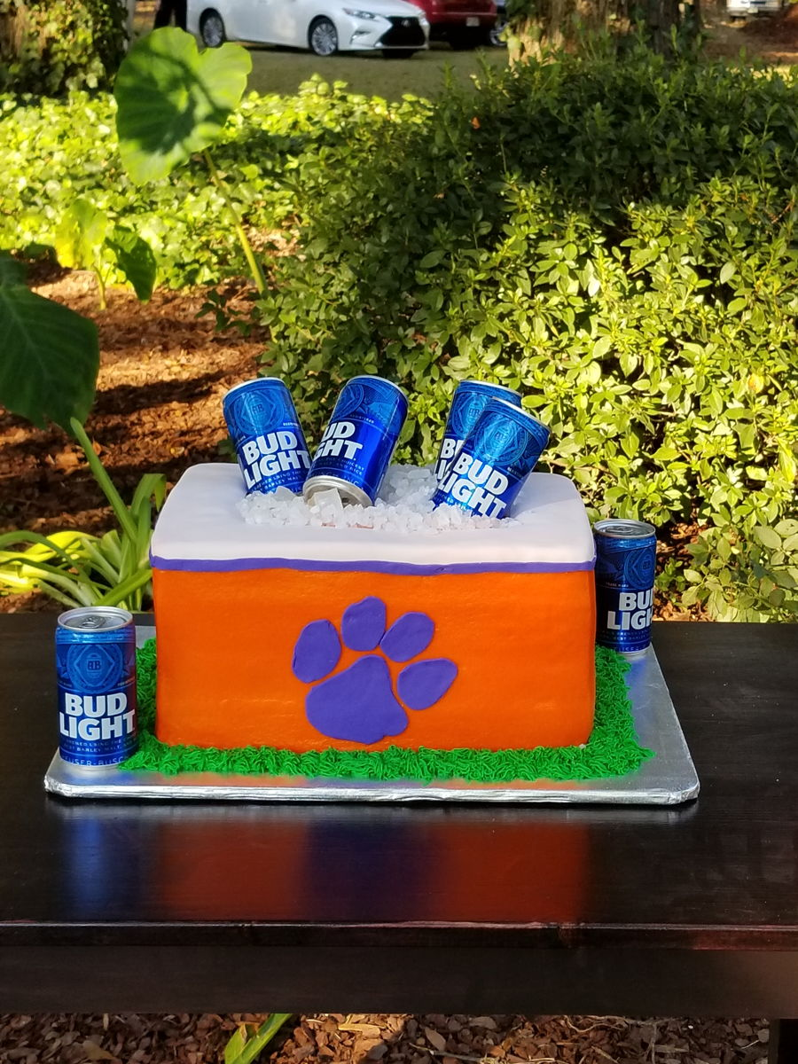 Stupendous Clemson Beer Cooler Cake Cakecentral Com Funny Birthday Cards Online Eattedamsfinfo