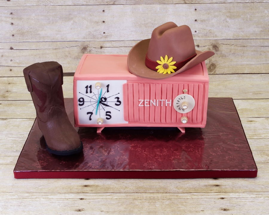 Cowgirl And Clock Radio Birthday Cake on Cake Central