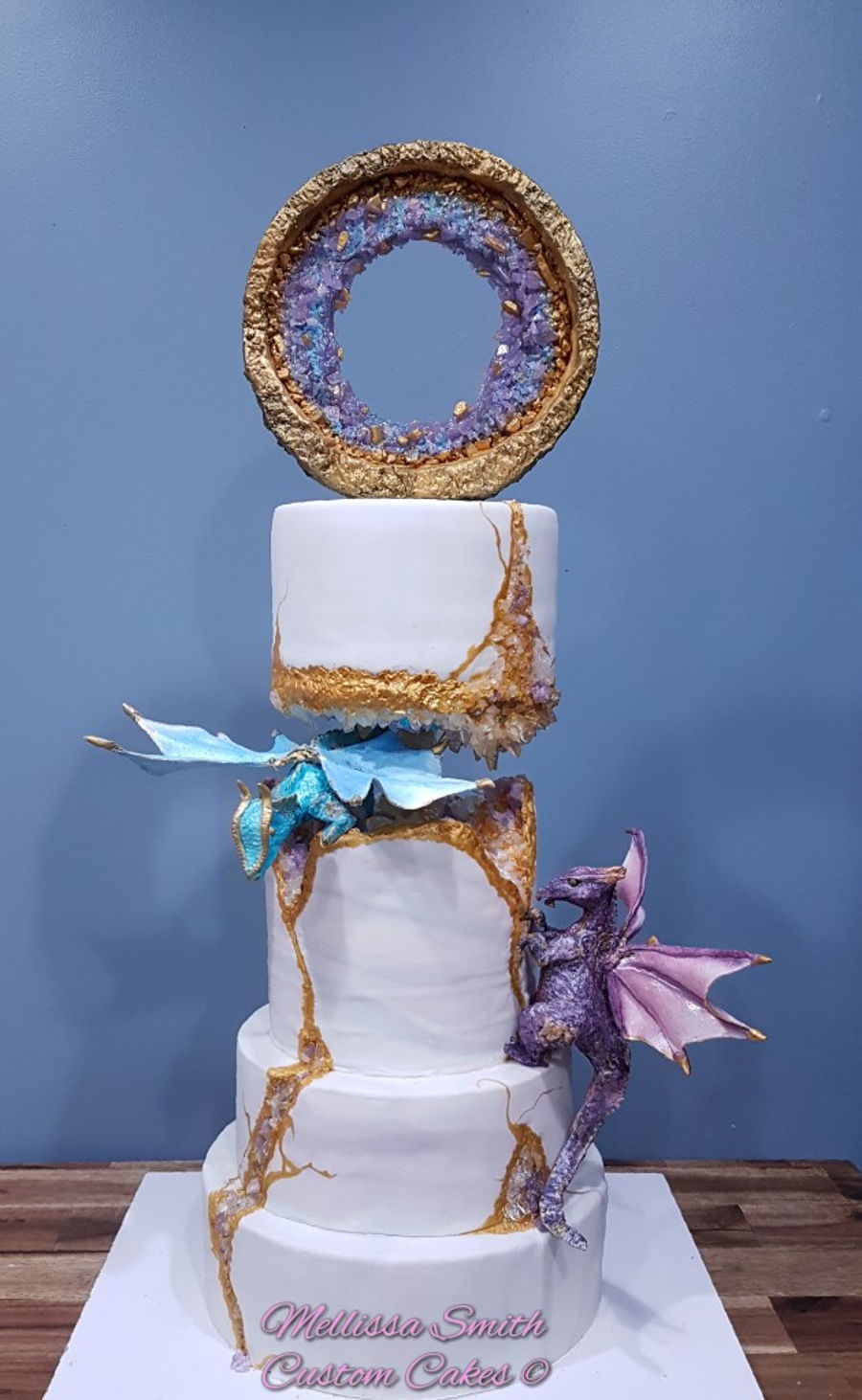 Kintsugi Geode Style Wedding Cake on Cake Central