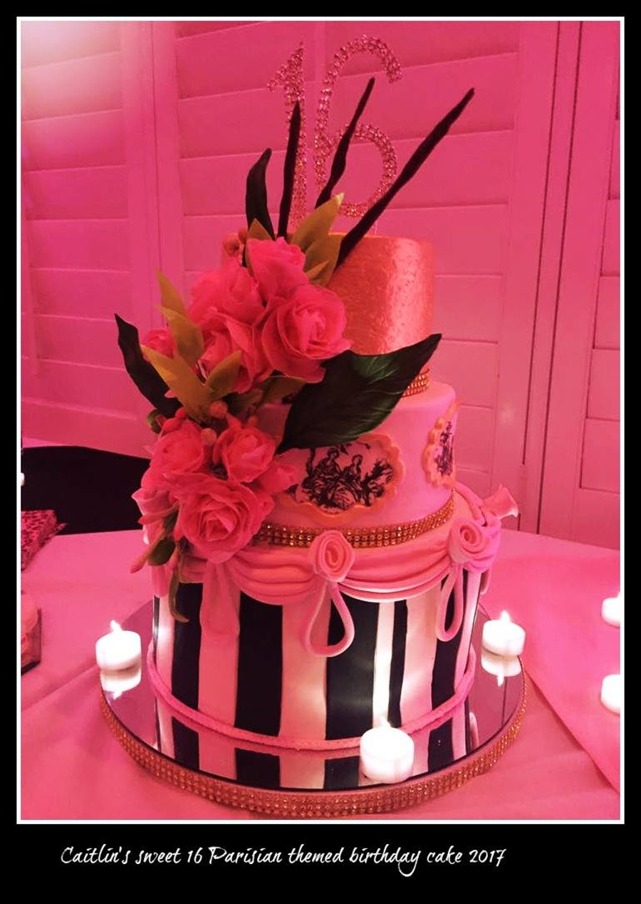 Parisian Sweet 16 Birthday Cake on Cake Central