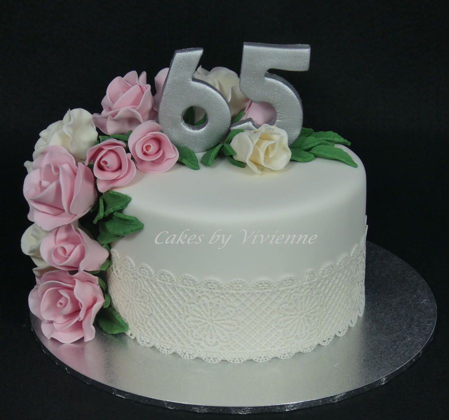Cool Roses And Lace 65Th Birthday Cake Cakecentral Com Funny Birthday Cards Online Elaedamsfinfo