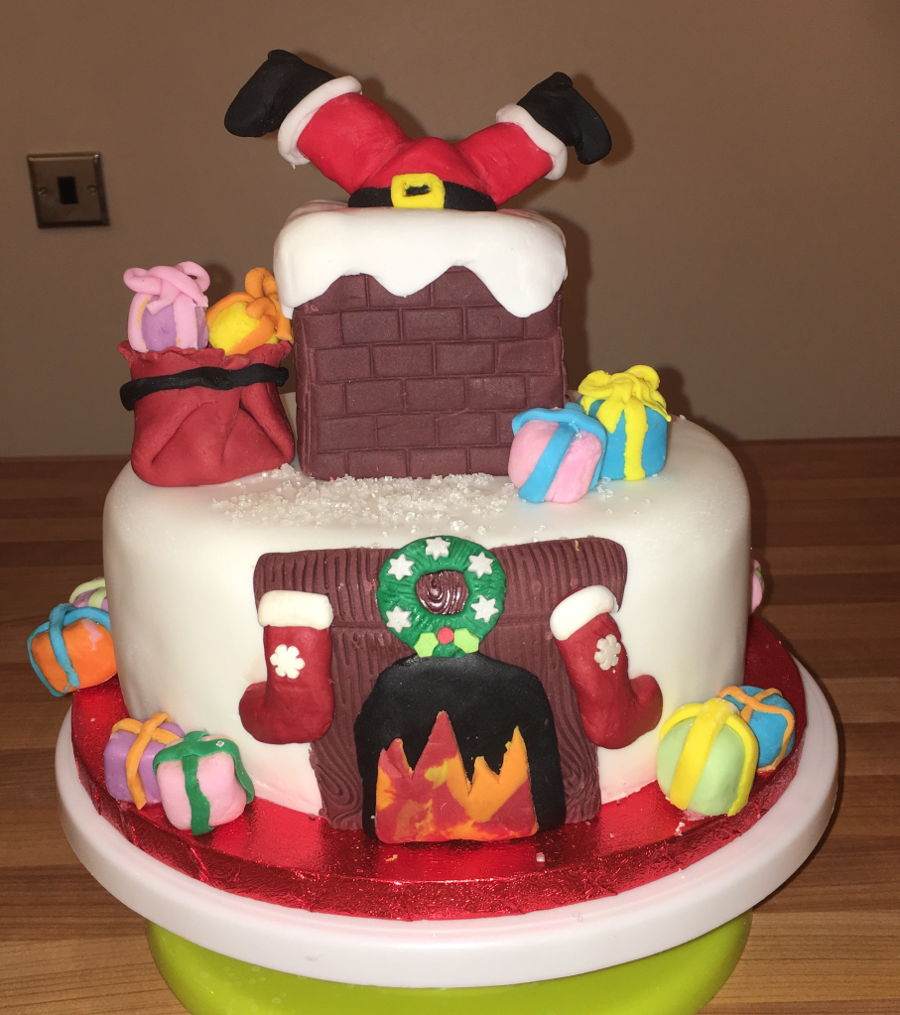 Santa stuck in the chimney christmas cake Santa stuck in chimney cake