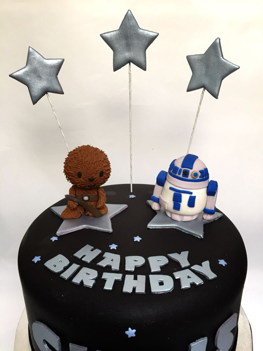 Star Wars Theme Birthday Cake Chewbacca R2 D2 Cakecentral
