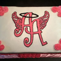 Ainsley's Angels Cake half sheet 2-layer yellow cake with cream cheese flavored buttercream filling and frosting. Piped the logo directly on the cake. (Actual...