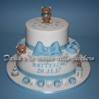 Baptism Cake Baby Boy Tender baby baptism cake with teddy bears