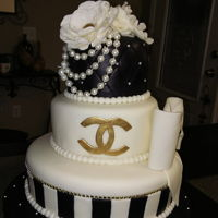 Chanel Birthday Cake Fondant black and white and gold Chanel logo. fondant flower