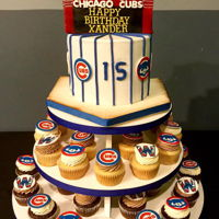 "Chicago Cubs 7"" fondant cake w/ home base drum, w/ cupcakes w/ edible image toppers"