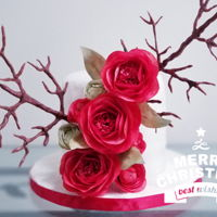 Christmas Celebration A snowy Christmas Birthday with red wafer paper roses and fondant made twigs.