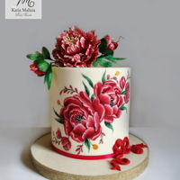 Christmas Peony Cake Christmas Peony CakeHand painted peony, peony flower and leaves made of gum paste on underwire and hand painted