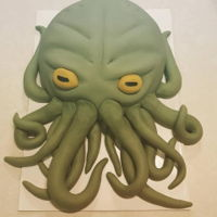 Cthulhu Cake My husband asked for this for his birthday this year. Brownie cake, vanilla buttercream and fondant.