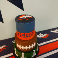 Denver Broncos Cake This was made for Icing Smiles. The bottom is vanilla, middle is oreo cookie, and the top is chocolate, all filled with smbc. Each tier is...