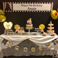 Emoji Sweet Table cake, cucpakes, and caramel wrapped pretzels