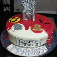 Game Of Thrones Almond cake , fondant and white chocolate ganache.