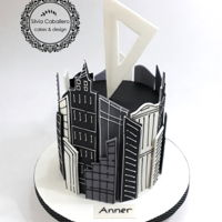 Graduation Cake Fon An Architect Lots of gumpaste buldings in white and black for the graduation of this new architect.