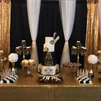 Great Gatsby Sweet Table cake. cupcakes and cakepops in black, gold and white, w/ greats gatsby/art deco theme