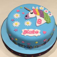 Kate's Unicorn 8Th Birthday Cake Chocolate biscuit cake. Unicorn, daisies, name plaque, and accents are from modelling paste. I sourced a free printable template online......
