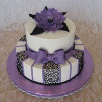 Purple Flower large gumpaste purple flower with black cornelli lace accent