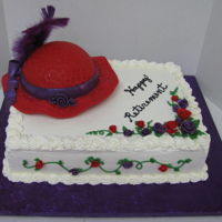 Red Hat Society red hat with purple ribbon