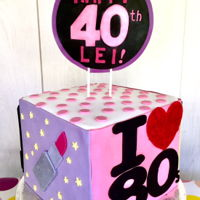 Retro-Kitch Birthday Cake 80's/90's themed cake for a 40th birthday bash at a retro disco club, featuring the birthday girl's favoriite things from...
