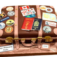 Suitcase Retirement Cake Made for a former colleague at LCFE, who plans to move to Toronto Canada. Trish is an avid traveller, and the luggage stickers denote the...