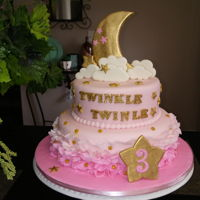 Twinkle Twinkle Litter Star Marshmallow fondant. Pink Ombre ruffle. Gold , pink and white. Moon star, cloud gumpaste