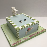 What A Splash This was a chocolate made for a friend. Diving Board made from Pastillage, everything else Fondant.