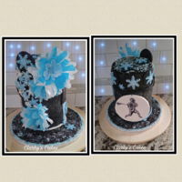 Winter Themed Birthday Cake Combination birthday cake for my daughter in law and son. Did the winter theme and coffee filter flowers for the girly side. The hand drawn...