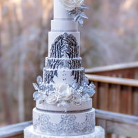 Winter Wonderland I created this elegant cake for an All White 40th Birthday Party in Virginia. The cake is a mixture of real and faux tiers and features...