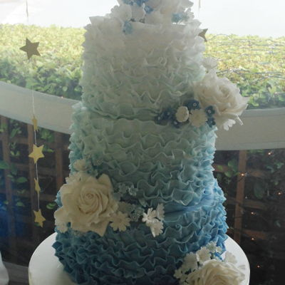 Blue Ruffle Wedding Cake