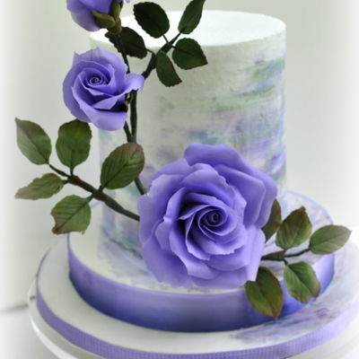 Painted Cake With Purple Roses