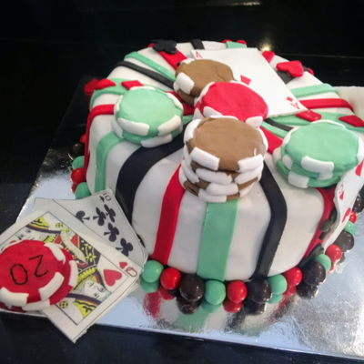 Poker! Fondant created Poker cake, even edible cards!Poker chips were made from half an Oreo biscuit covered in fondant