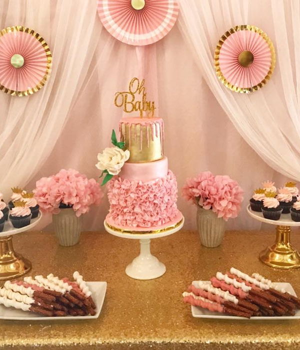 Pink And Gold Sweet Table
