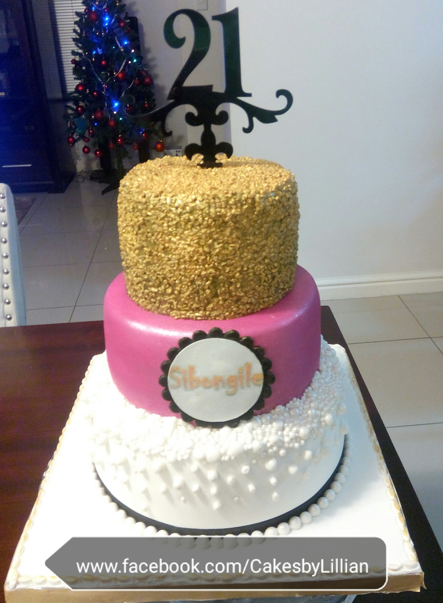 Gold Pink Black And White Ladies 21St Cake On Central