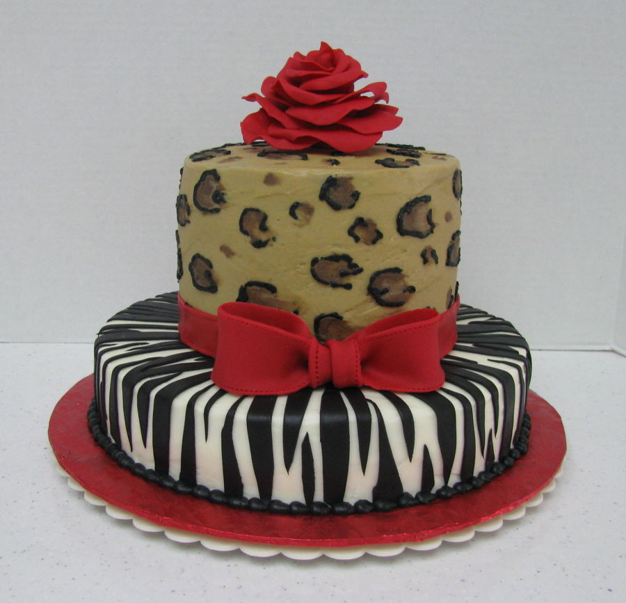 Red Rose, Leopard on Cake Central