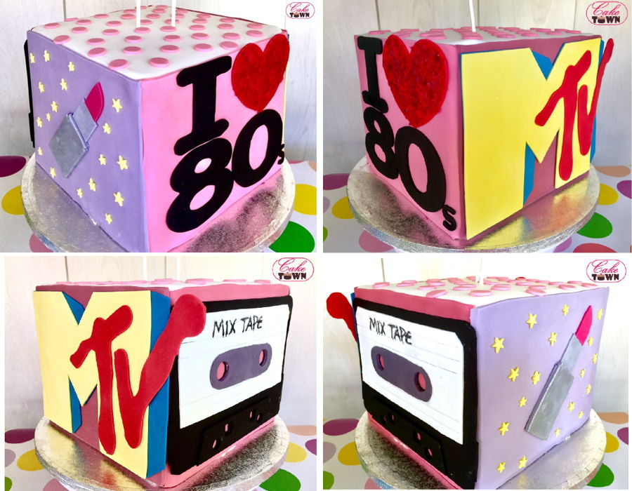 80s 90s Themed Cake For A 40th Birthday Bash At Retro Disco Club Featuring The Girls Favoriite Things From Decades Past