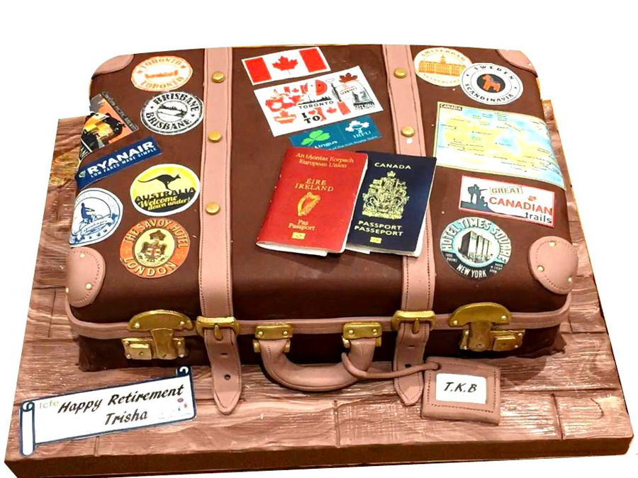 Suitcase Retirement Cake on Cake Central