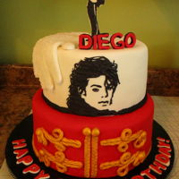 "Michael Jackson Cake For Diego It's always a pleasure making a cake for Icing Smiles. This is a 10 & 8"" Face piped with Cake Lace. Silhouettes also &..."