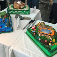 Retirement Cakes Three cakes of different designs and flavours.Lemon with lemon mousse filling - baseball cakeDark Chocolate cake with Truffle filling -...