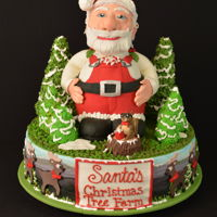 Santa Christmas Tree Farm This was a competition cake using a styrofoam base and cereal treats for Santa and the trees. The cake was entered in the 2017 North...