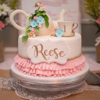 Tea Party Cake This is a first birthday tea party cake. All edible. The cup is Renshaw gumpaste, the tea pot is a mixture of rice krispy treats and...