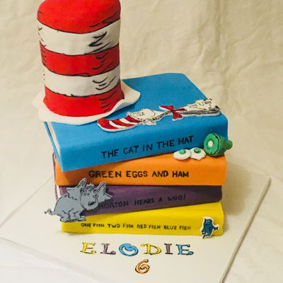 Dr Seuss Cat In The Hat Book Cake