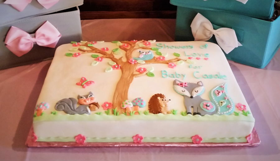 Woodland Baby Shower Cake on Cake Central