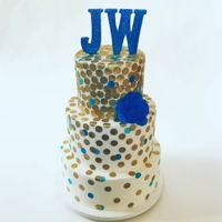 Bat Mitzvah Gold Polkadots Cake Simple three tier cake with gold polkadots and blue rice paper flower. Bday girl was very specific about what she wanted (colors were...